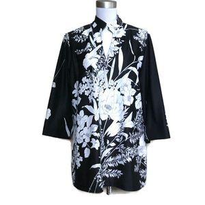 Vintage 70s LADY WINN black floral Tunic 40 XL
